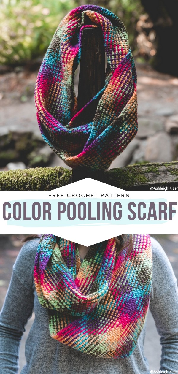 Color Pooling Scarf Free Crochet Pattern