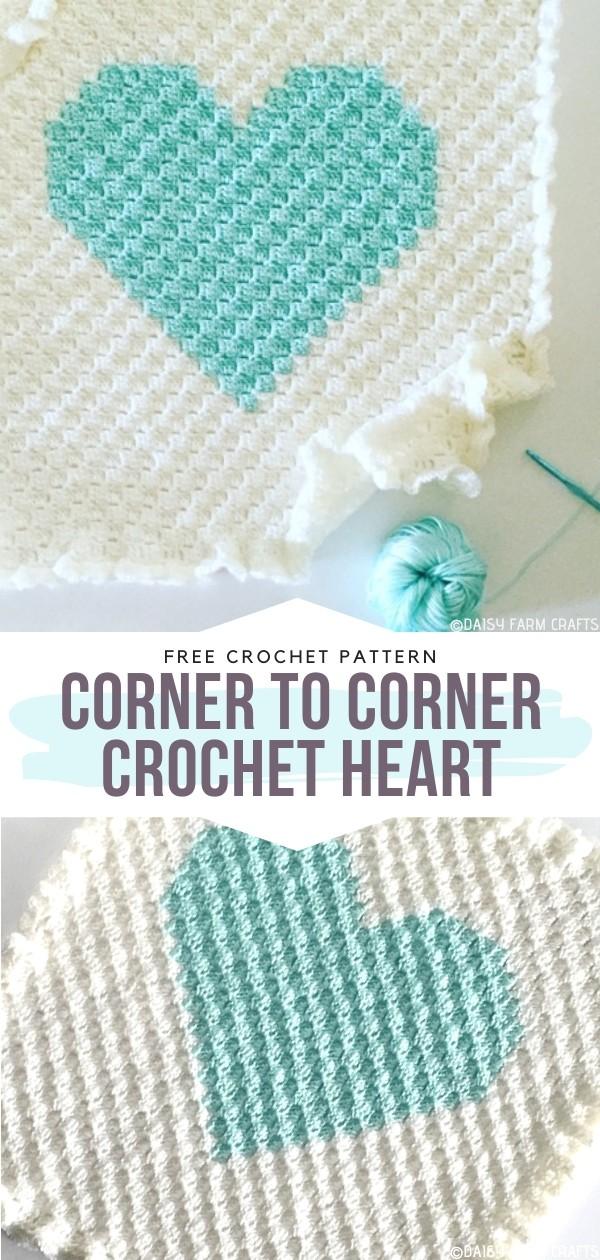 Corner to Corner Crochet Heart Square