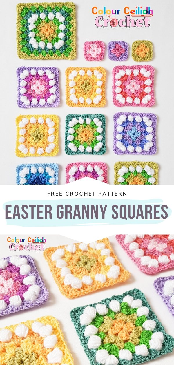 Easter Granny Squares Free Crochet Pattern