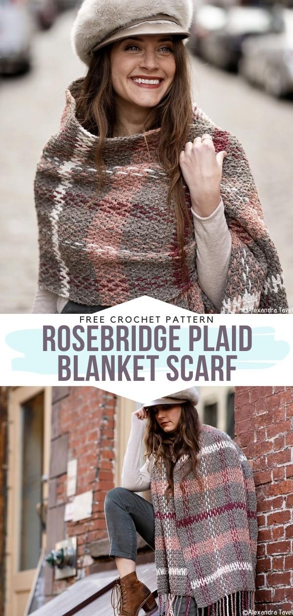 Rosebridge Plaid Blanket Scarf Free Crochet Pattern