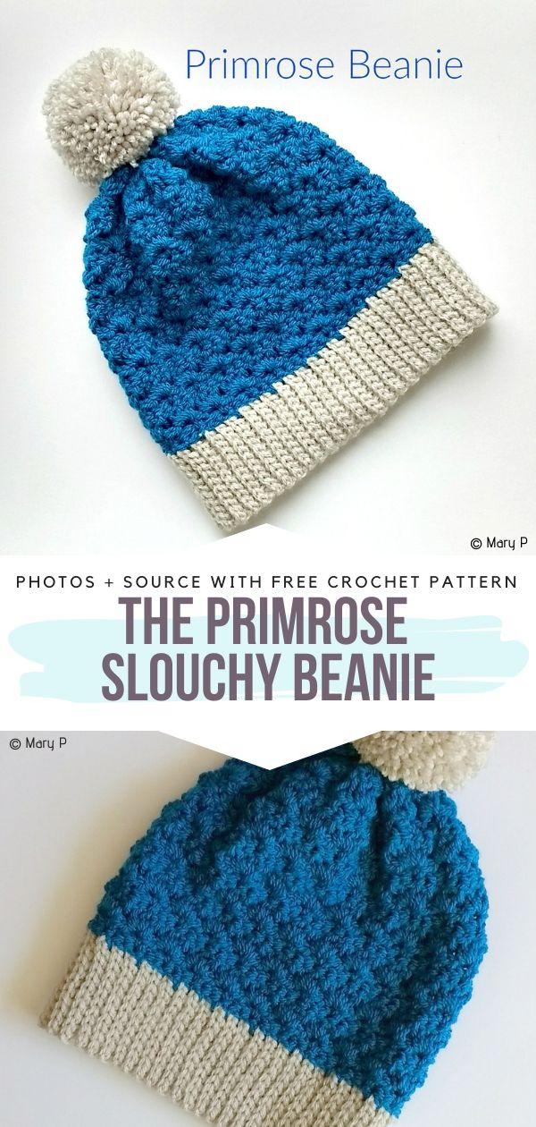 Free Crochet Pattern The Primrose Slouchy Beanie