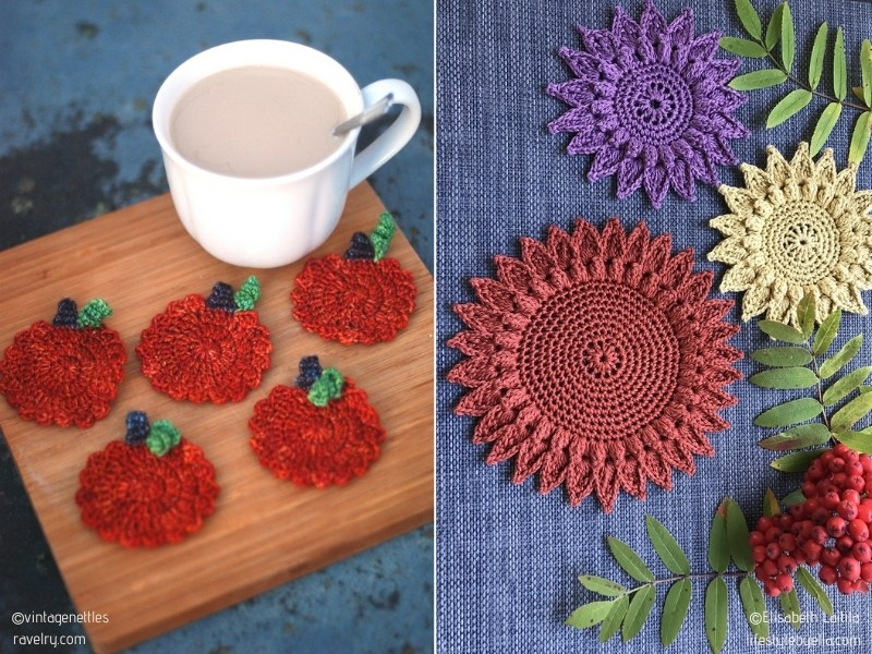 Celebration of Fall Crochet Coasters with Free Patterns