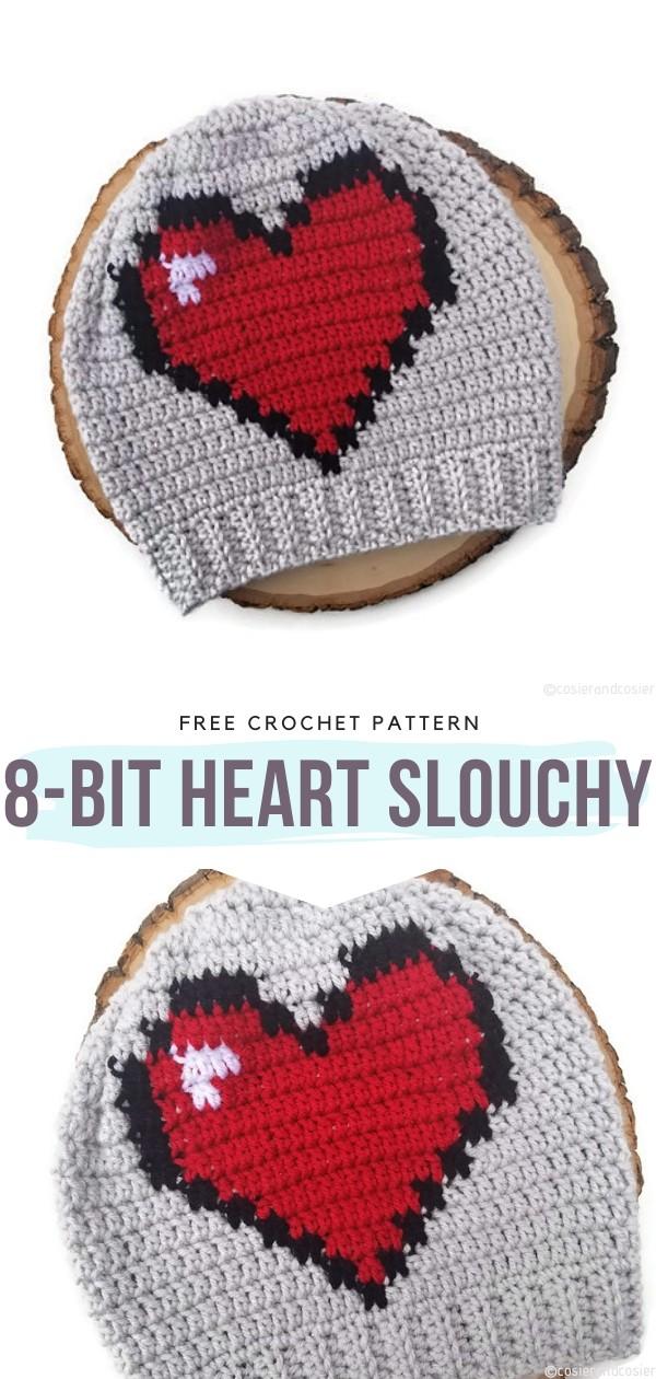 8-Bit Heart Slouchy Free Crochet Pattern