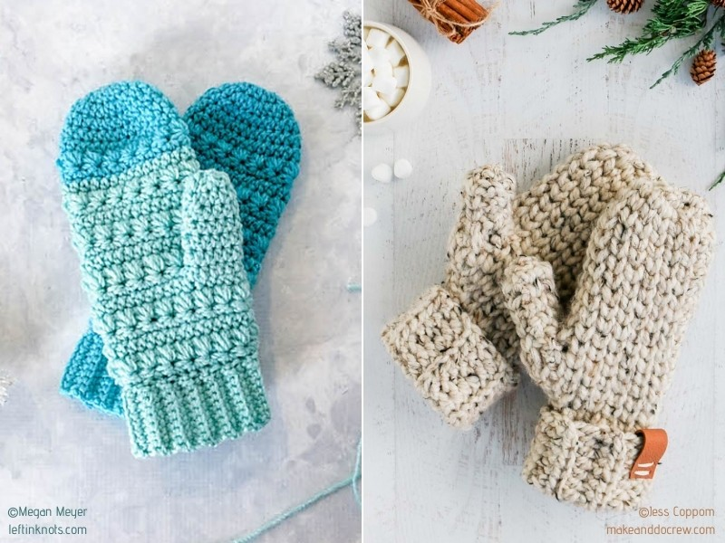 Wonderful Chunky Mittens with Free Crochet Patterns