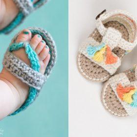 Boho Summer Baby Sandals Free Crochet Pattern