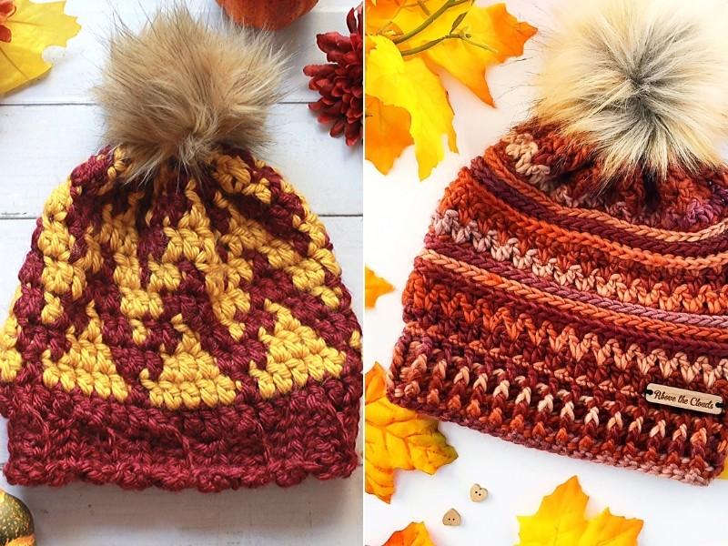 Fall Colors Beanies Free Crochet Patterns