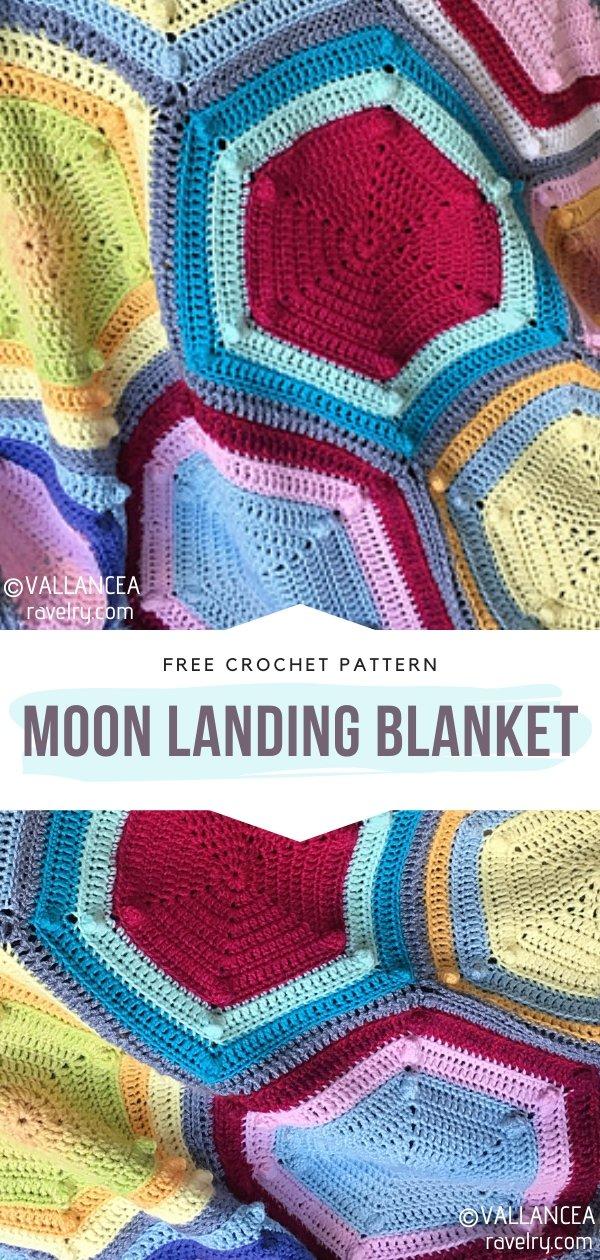 Moon Landing Hexagon Crochet Blanket
