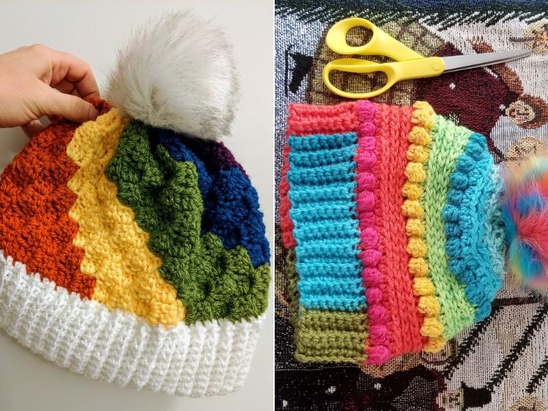 Rainbow Beanies Free Crochet Patterns