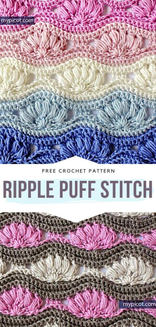 Ripple Puff Stitch Free Crochet Pattern