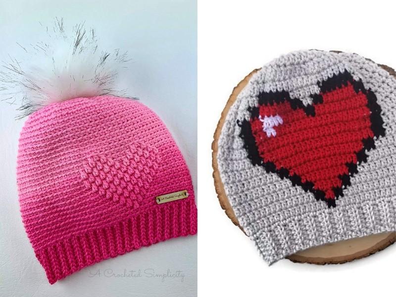 Valentine's Heart Beanies Free Crochet Patterns