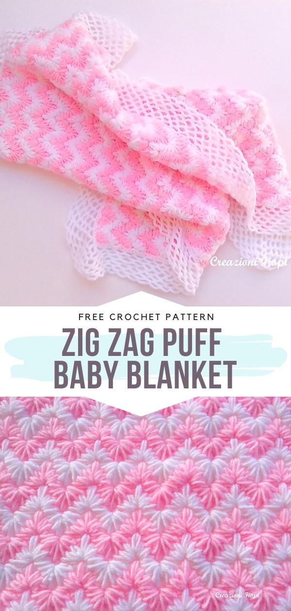 Zig Zag Puff Baby Blanket Crochet Pattern