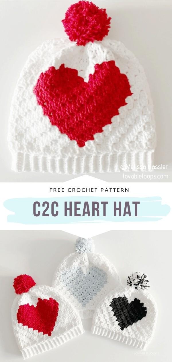 C2C Crochet Beanies with Hearts