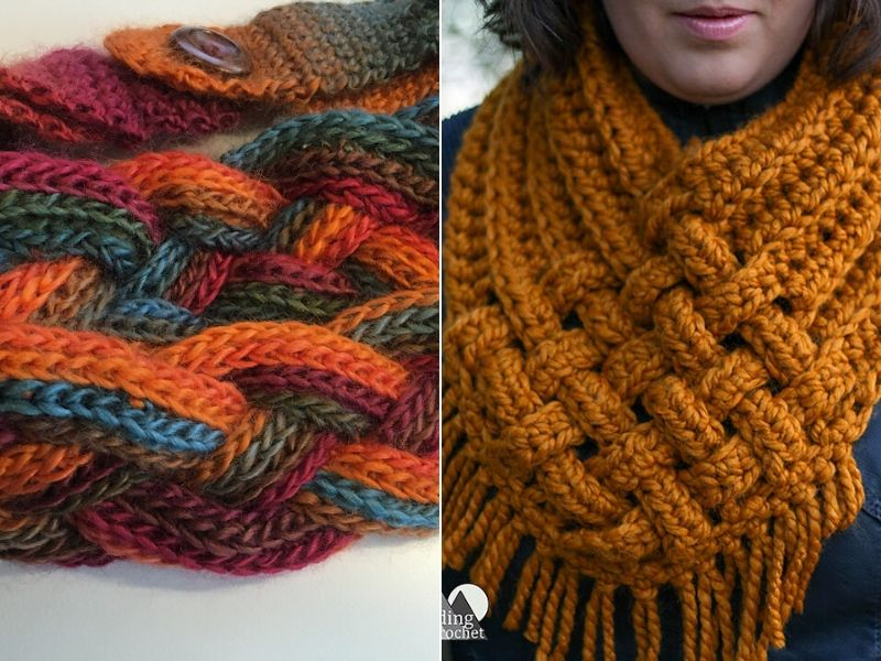 Free Patterns Entwined Crochet Cowls