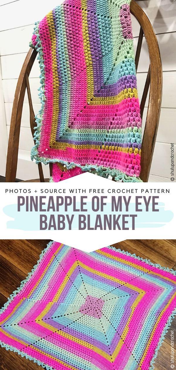 Free Crochet Pattern Pineapple of My Eye Baby Blanket