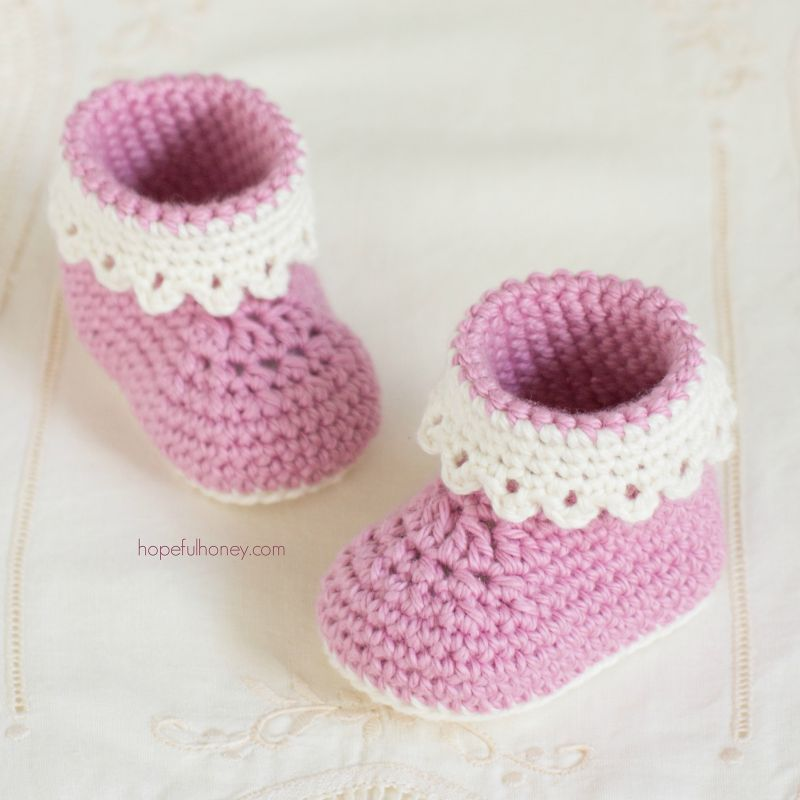 Free Crochet Pattern Pink Lady Baby Booties