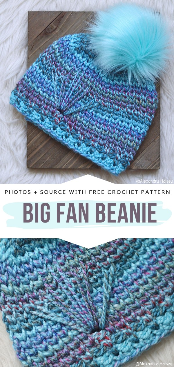 Big Fan Beanie Free Crochet Pattern