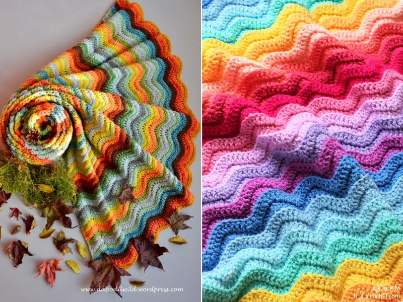 Colorful Ripple Stitch Crochet Blankets