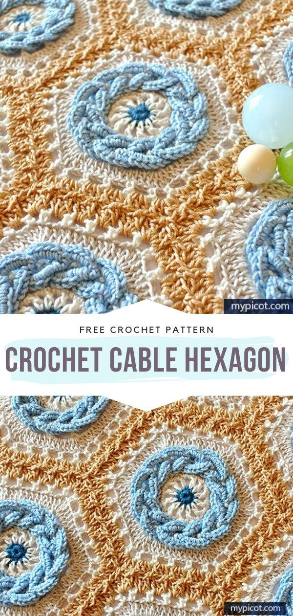 CrochetCableHexagon Free Crochet Pattern
