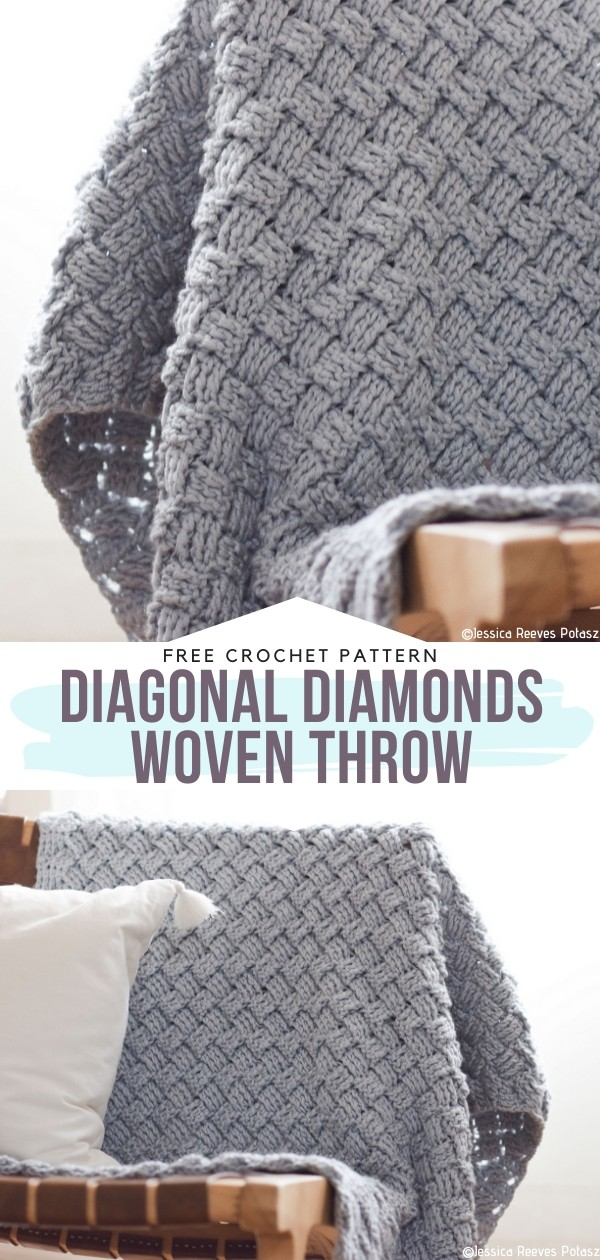 Diagonal Diamonds Woven Throw Free Crochet Pattern