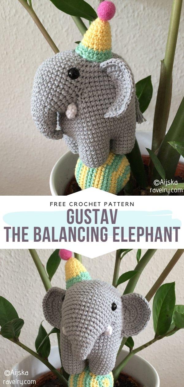 Gustav the balancing elephant Free Crochet Pattern