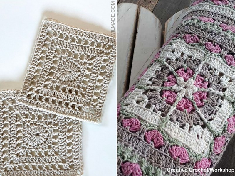 Crochet Heart Afghan Squares