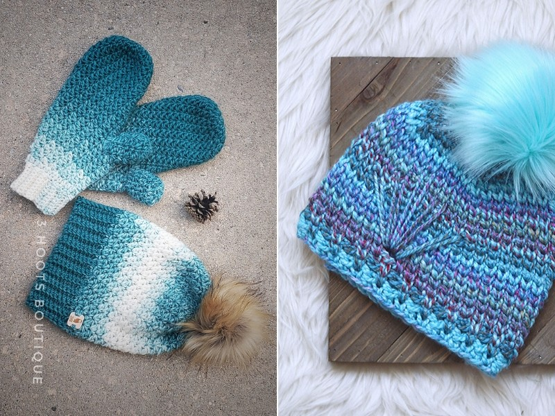 Ombré Blue Hats Free Crochet Patterns