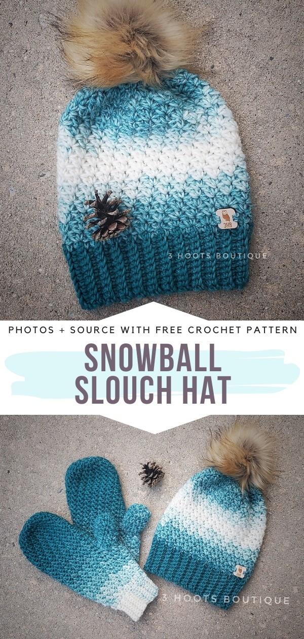 Snowball Slouch Hat Free Crochet Pattern