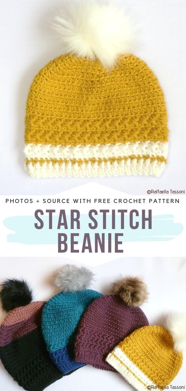 Star Stitch Beanie Free Crochet Pattern