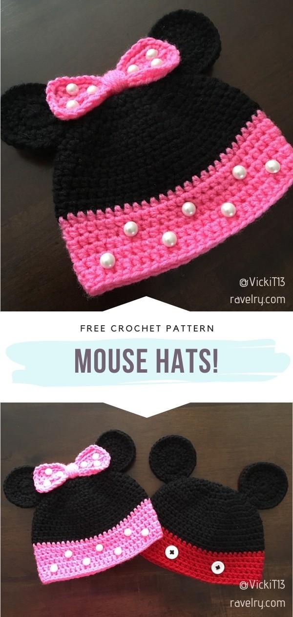 Crochet Mouse hats