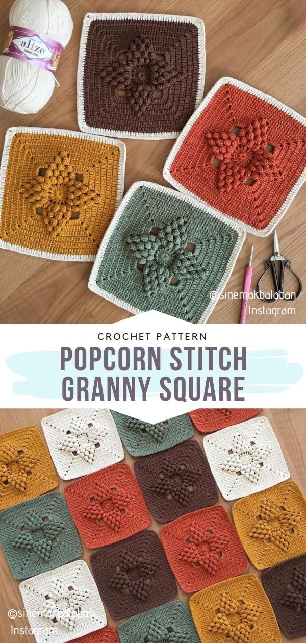 Popcorn Stitch Granny Square