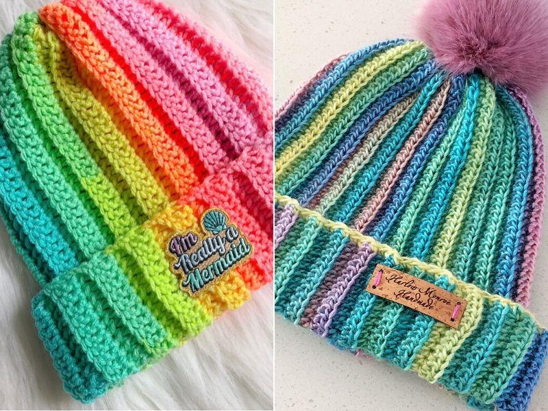 Striped Rainbow Beanie Crochet Hat with Stripes Teen Hat