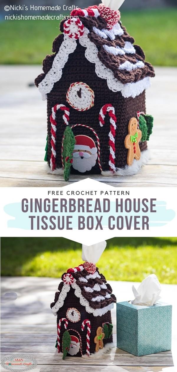 Crochet Gingerbread House Tissue Box Cover
