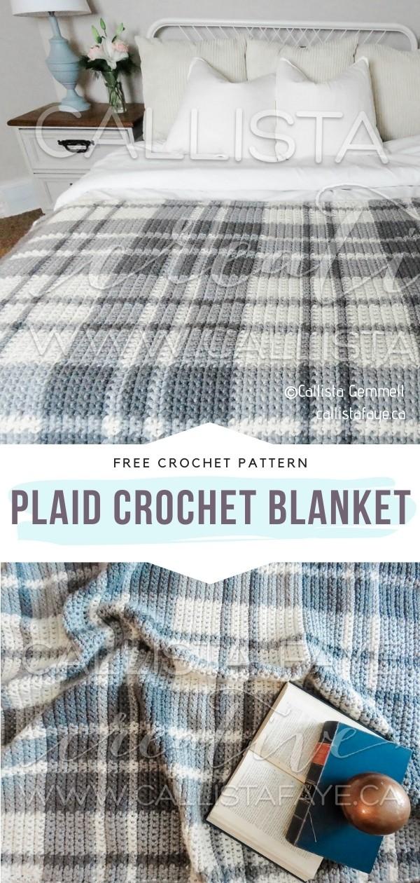 Plaid Crochet Blanket