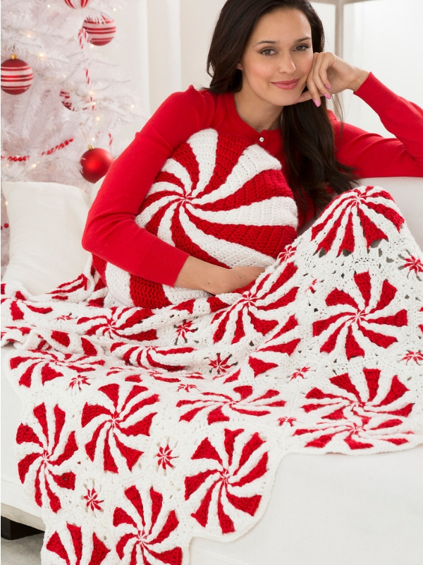 Peppermint Throw And Pillow Free Crochet Pattern