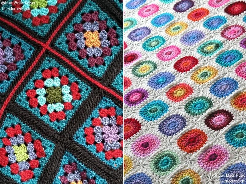 Black or White Floral Square Blanket Free Crochet Patterns