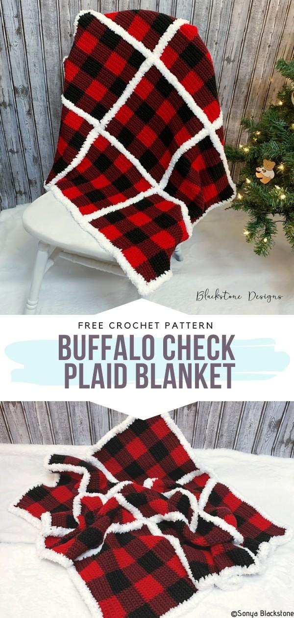 Buffalo Check Plaid Blanket Free Crochet Pattern