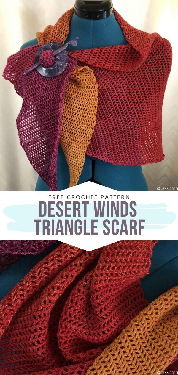 Desert Winds Triangle Scarf Free Crochet Pattern