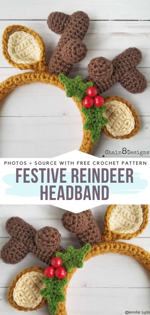 Festive Reindeer Headband Free Crochet Pattern