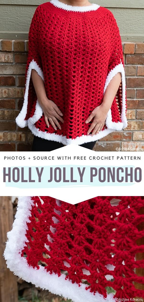 Holly Jolly Poncho Free Crochet Pattern