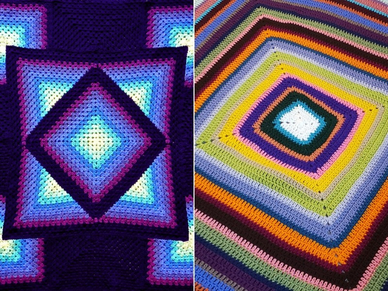 Multicolor Squares Blankets Free Crochet Patterns