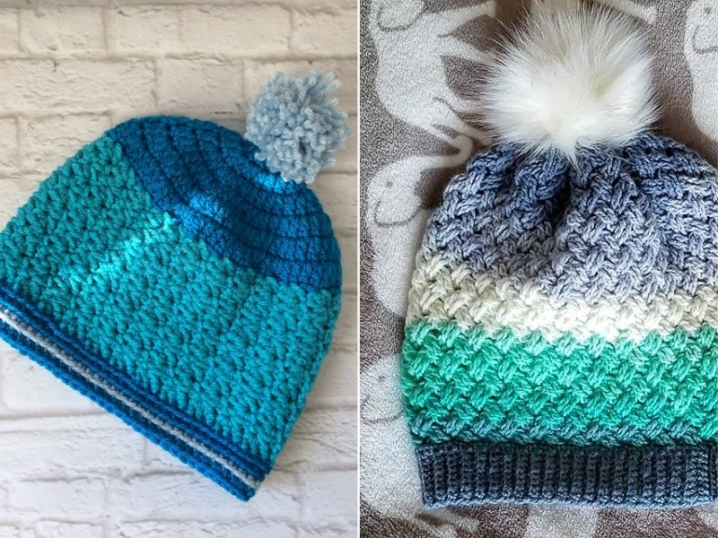 Shades of Blue Beanies Free Crochet Patterns