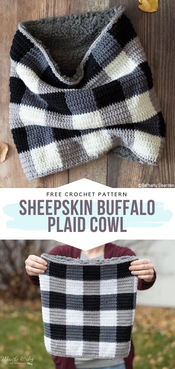 Sheepskin Buffalo Plaid Cowl Free Crochet Pattern