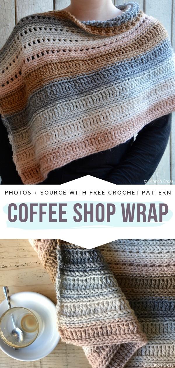 The Coffee Shop Wrap Free Crochet Pattern