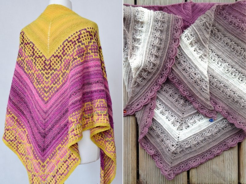 Touch of Pink Shawls Free Crochet Patterns