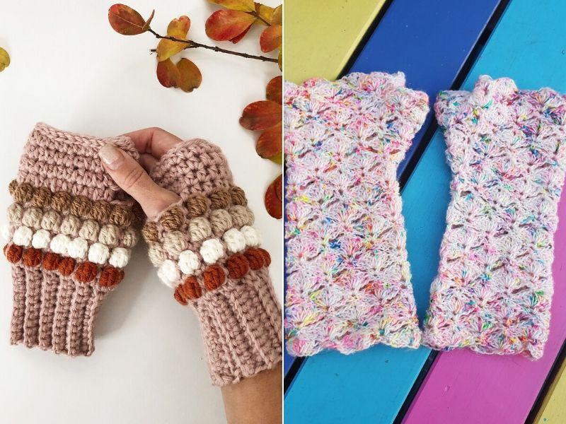 Free Crochet Patterns Trendy Fingerless Gloves