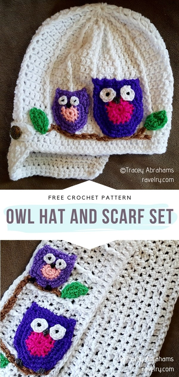 Owl Hat and Scarf Set