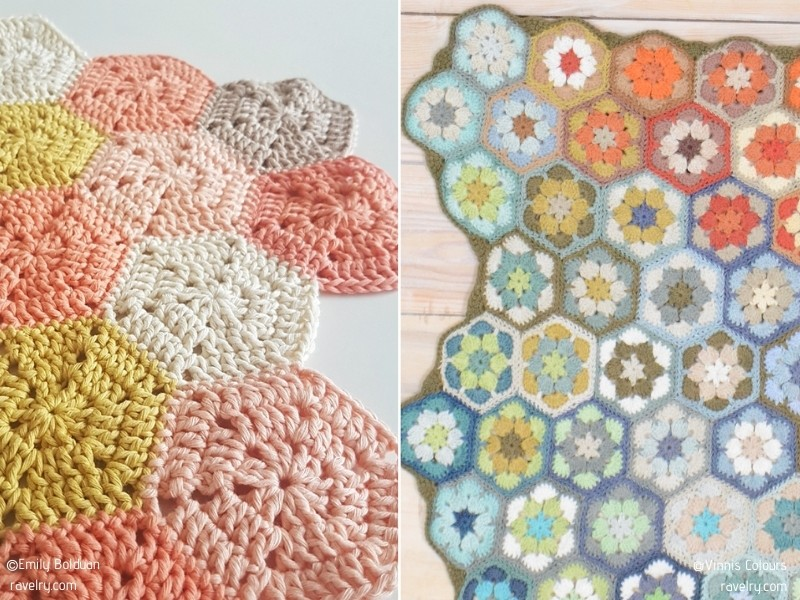 Colorful Hexagon Blankets with Free Crochet Patterns