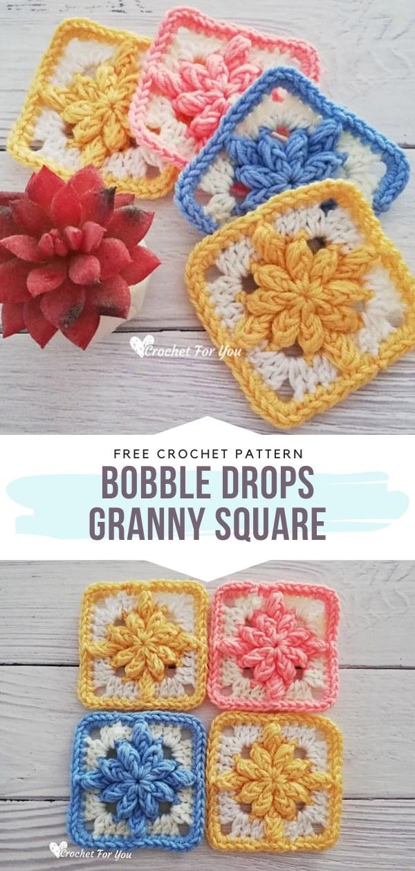 Bobble Drops Crochet Granny Square