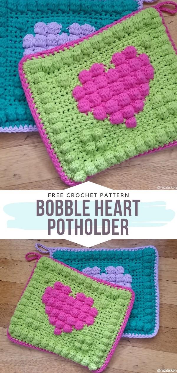 Bobble Heart Potholder Free Crochet Patterns