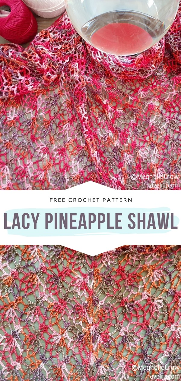 Lacy Pineapple Crochet Shawl